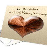To Husband on Our 5th Wedding Anniversary, Card