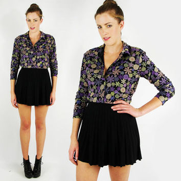 vtg 90s 70s grunge revival hippie club kid rave black purple SHEER cutout PSYCHEDELIC FLORAL print button up shirt blouse top S M