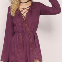 Burgundy Lace Up Neck Keyhole Back Embellished Playsuit