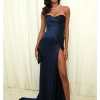 Navy Long Mermaid Side Slit Sexy Prom Dresses Formal Dresses Evening Dresses G3590