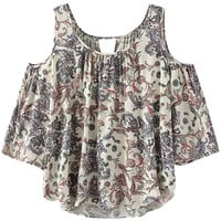 Floral Shoulder Cutout Sleeve Cropped Top