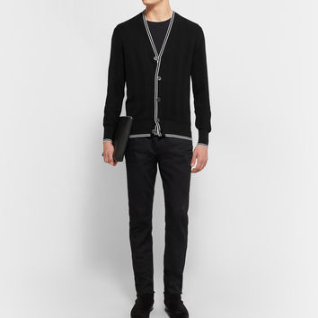 Tom Ford - Contrast-Tipped Silk and Cotton-Blend Cardigan