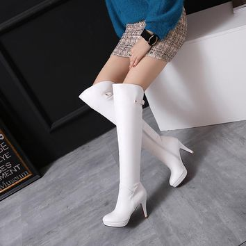 BISI GORO size 34-46 high heel booties women leather over the knee boots platform white black thigh high boots for women shoes