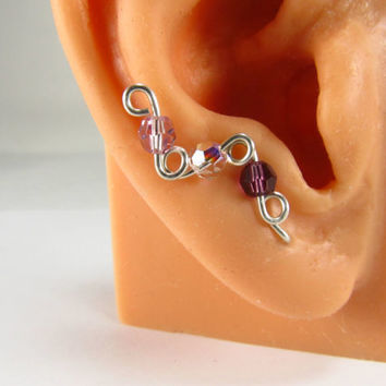 Sterling Ear Pins Sweeps Vines Choice of Swarovski Crystal Birthstones