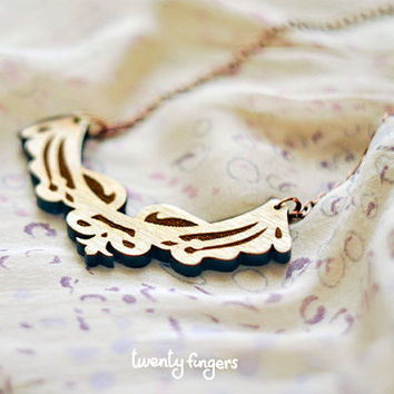 Wood Laser cut Pendant with engraved lace by TheTwentyFingers