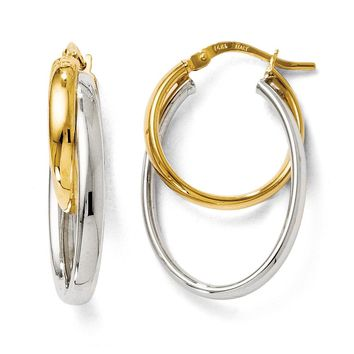 Polished Round and Oval Hoop Earrings in 14k Two Tone Gold, 28mm