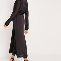 Missguided - Satin Belted Duster Coat Black