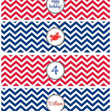Crab Birthday Party Printable Water Bottle Wrappers