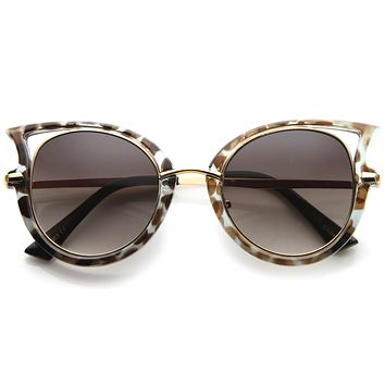 Women's Temple Cut Out Round Cat Eye Sunglasses A058