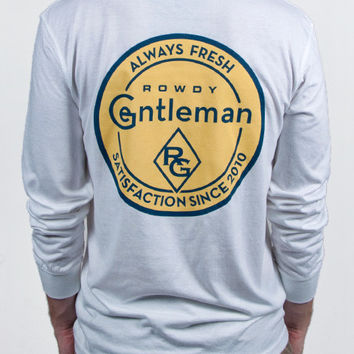 Always Fresh Long Sleeve Pocket Tee Shirt in White by Rowdy Gentleman