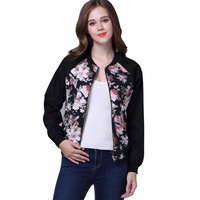 Smoves Floral Print Women Bomber Jacket Classic Outwear Autumn Winter Fall Spring Coats Outwear New Size S-XL