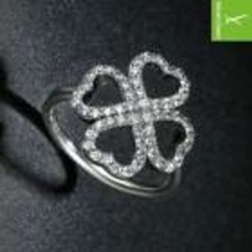 Women's 4 Leaf Clover Lucky Charm Ring - A Saint Patty's Day Must - Free Shipping
