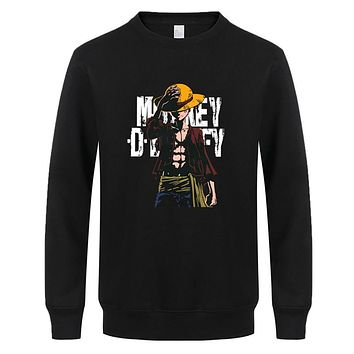 One Piece Sweatshirt Luffy Straw Hat Japanese Fleece Hoodies O-neck Hoodies