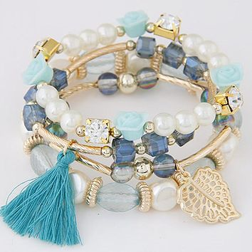 2016 NEW Fashion Design Girl Jewelry Handmade Bracelets Sets For Women  Glass Beads Charm Gold Plated e523d360d