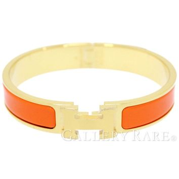 HERMES Click H GM Orange Enamel Bracelet Bangle New Accessory Authentic 4593263