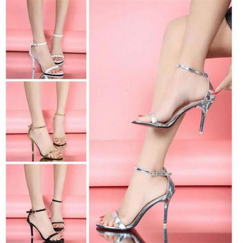 Hot Sale Vogue 4 Color Woman Summer Shoes Supermodel T-stage Classic Dancing High Heel Sandals Sexy Stiletto/Party Wedding Shoes