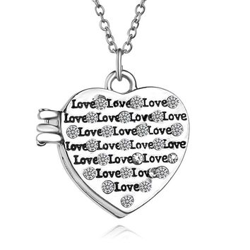 Fashion Mini Wedding Photo Frame Shape Pendant Necklace Love Heart Photo Boxes Locket Can Open Rhinestone Necklace Jewelry 2016