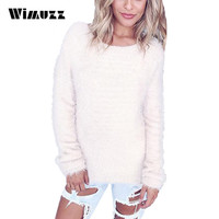 Wimuzz 2016 Autumn Winter Hairy Sweater Women Christmas Jumper Long Sleeve Pull Femme Warm Knitted Black Pullover