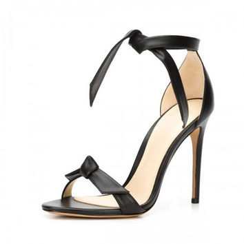 High sandals hollow out leather closed heels
