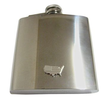 USA America Map Shape and Flag Design 6 Oz. Stainless Steel Flask
