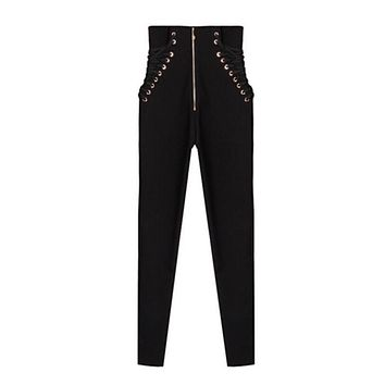 Vintage Punk Metal Eyelets Lace Up Panelled Pencil Pants New Woman High Waist Zipper Split Cuffs Long trousers Black