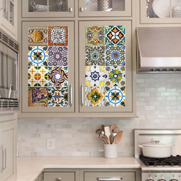 Vinyl decal sheet - Tile Decals - Tile decals for Kitchen or Bathroom Mexico, Morocco, Portugal, Spain, Mosaic #10