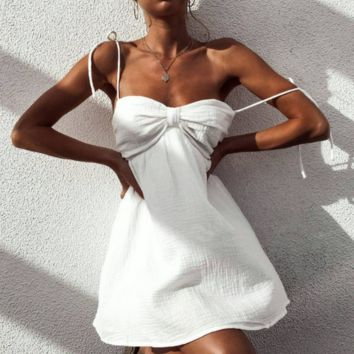 Summer New  Fashion Solid Color Straps Dress Leisure Women White