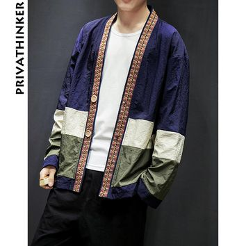 Trendy Sinicism Store Mens Coat Jacket Kimono Streetwear Windbreaker Jacket Cardigan Hrajuku Button Male Clothes 2018 Plus Size AT_94_13