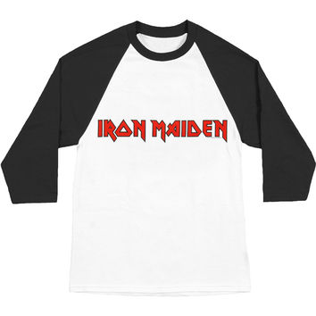 Iron Maiden Men's  Logo Baseball Jersey Black & White Rockabilia