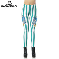 NADANBAO Hot Style Legins Blue Harry Potter Vertical Stripes 3D Printed Leggins Women Leggings Women Pant