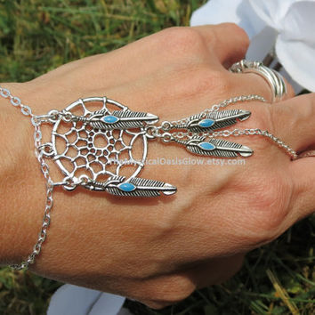 Dream Catcher Slave Bracelet, Hand Chain, Native American Jewelry, Native American Bracelet, Native American Unity, Bracelet Ring, Silver