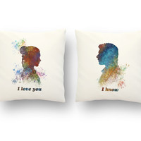 "Star Wars Han Solo and Leia I Love you I know PILLOW SET,  Valentine's Day Watercolor Pillow Covers or Cushions Size: 13.5"" x 13.5"" SET"