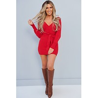 Conquer The World Open Back Sweater Dress (Red)