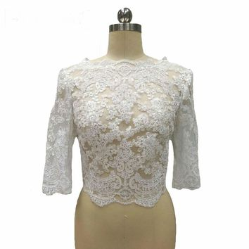 White Half Sleeves Lace Wedding Bolero Buttons Back Wedding Accessories Custom made Bridal Jacket