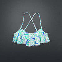 Chevron Ruffle Swim Top