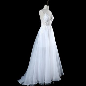 Modest Appliques Backless Wedding Dresses  White Ivory Spaghetti Sexy wedding Gowns