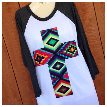 3/4 Sleeve Heather Black with Aztec Print Cross and Crystal Accents