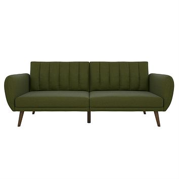 Green Linen Upholstered Futon Sofa Bed with Mid-Century Style Wooden Legs