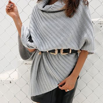 Gray Cowl Neck Asymmetric Hem Pull-on Knit Poncho