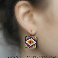 Diamond Shape Square Earrings, Delica Beads Japanese, Multicolor Ethnic Chic Stripes Beadwork Big Large Bronze Dangle Earrings Modern