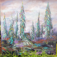 Original Tree Canvas Acrylic Painting Landscape 12x12x1 Titled Feathered Maiden Trees