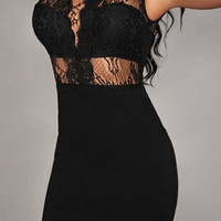 Jewel Neck Lace Splicing Backless Dress