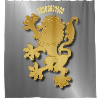 Golden Gradient Embossed Heraldic Lion With Shadow Shower Curtain