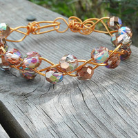 Czech Glass Bead Bracelet, Braided Copper Bracelet, Glitter Bracelet
