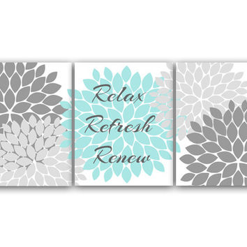 Relax Refresh Renew, Bathroom Wall Art, Gray and Aqua Bathroom Decor, Modern Bathroom Art, Set of 3 Bath Art Prints - BATH23