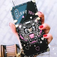 KEnzo Trending Women Men Tiger Head Print Cute Couple Phone Case iPhone 7/8 iPhone X iphone 6 6s 6plus 6s plus