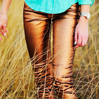Love To Love Shimmer Jeans: Bronze | Hope's