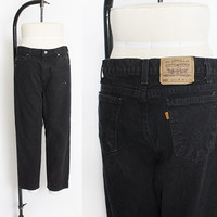"""Vintage Levi's 550 JEANS - Black Denim Relaxed Fit Tapered Leg Mom Jeans 33"""" x 27"""""""