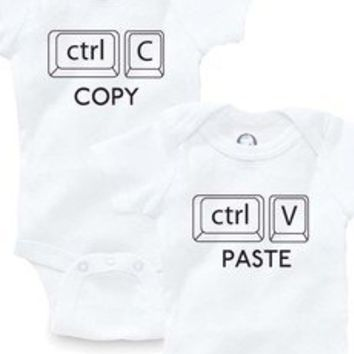 Copy Paste Ctrl Twins Set Of 2 Onesuits Baby Clothing Shower Gift Funny Cute