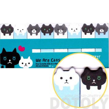 Black and White Kitty Cat Shaped Animal Themed Memo Post-it Index Sticky Bookmark Tabs